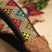 Handmade Camera Strap embroidered leather belt