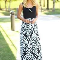 Black And White Printed Maxi Dress
