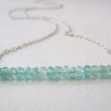 Blue Apatite Rondelle Stick Necklace - Natural Light Blue Stone Pendant Necklace Delicate Silver Chain