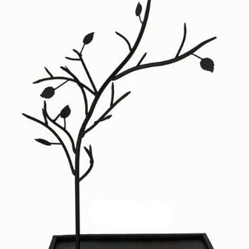 Jewelry Tree Organizer Stand - Metal with Black Rustic Finish