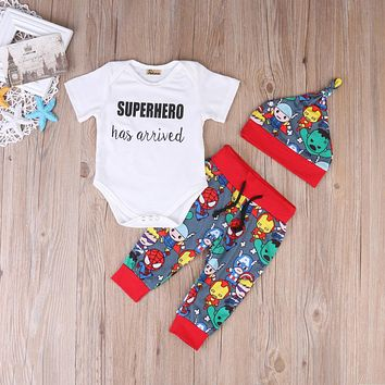 Summer Cute Batman Newborn Baby Boys Infant Rompers+Shoes+Hat 3Pcs Outfit Baby Boys Clothes Set