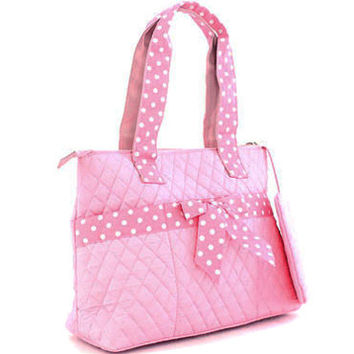 Quilted Medium Diaper Bag w/ Bow & Polka Dot Trim - Pink Color: Pink