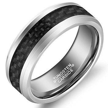 8MM Tungsten Wedding Band for Men Black Carbon Fiber Inlay Beveled Edge