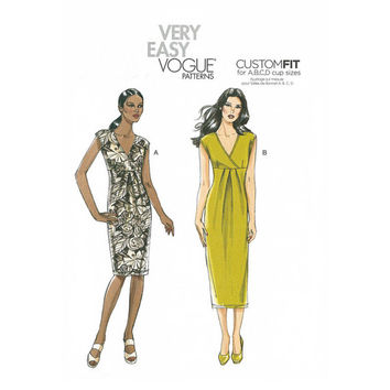Very Easy Vogue V8724 Misses Dress Sewing Pattern, Sizes 14-16-18-20, Misses Sewing Pattern, New, Uncut, Factory Folds