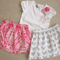 Pink Damask & Gray Butterfly Girls Skirts and Matching Rosette Embellished Tee 3 Pc Outfit - 6m, 12m, 18m, 2T, 3T, 4T, 5, 6, 7/8, 9/10