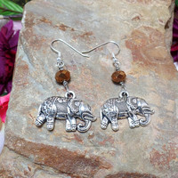 Elephant Earrings With Brown Faceted Beads - Ganesh