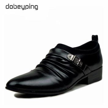 New Fashion Men's Loafers Pu Leather Flats Man Solid Color Casual Men Oxfords Pointed Toe Dress Shoe Business Sapatos Masculinos