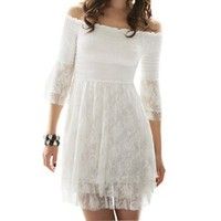 Allegra K Allegra K Lady Ruffle 3/4 Sleeve Off Shoulder Lace Dress Top White XS