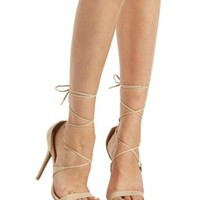 Natural Lace-Up Pointed Toe Pumps by Charlotte Russe