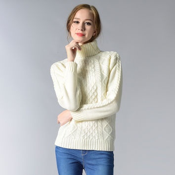 Ladies' Solid Color Turtleneck Slim Knitted Pullover Sweaters