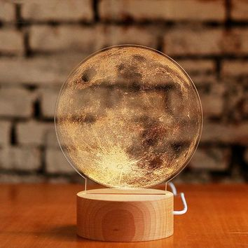 3D Night Light LED Desk Table Lamp Chriatmas Gift Bedroom Living Room Home Decor Moon Light