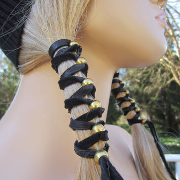 2 Black Leather Hair Wrap Ponytail Holder with Antique Brass Gold or Silver Beads
