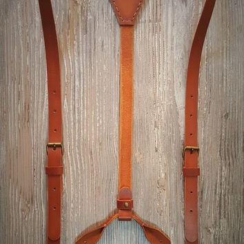 Leather Suspenders · Wedding Suspenders · 100% Handcrafted - Sevilla Custom Brown Vintage