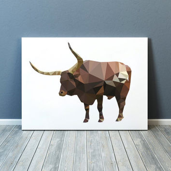 Ox poster Farm animal print Modern art Colorful decor TOA79
