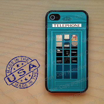SALE London Phonebooth turquoise phone box iPhone 5 Case, iPhone 4 Rubber case, iPhone 4S case, iPhone 5S hard cover, iPhone 4 cover