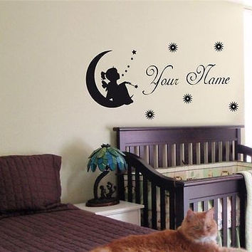 CUSTOM PERSONALIZED BABY NAME TINKERBELL FAIRY WALL STICKER BOY GIRL ROOM 09
