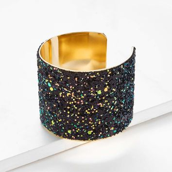 Sequin Overlay Wide Cuff Bracelet 1pc