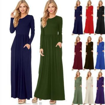 Fashion Clothing Women Long Sleeve Loose Plain Maxi Pockets Dresses Round Neck New Casual Long Dresses With Pockets 12 color S-2XL