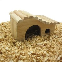 Alfie Pet Small Animal Hideout - Piko Wooden Hut (Living Habitat for Dwarf Hamster and Mouse)