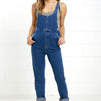 Rollas Original Elle Blue Straight Denim Overalls
