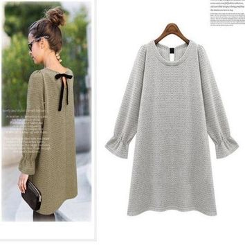PEAPIX3 Bowknot winter Maternity Dresses Vestido Gestante Roupa Gestante Pregnancy Clothes For Pregnant Women bottoming knit skirt@DWZ = 1945717252