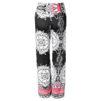 Ethinic Style High-Waisted Printed Loose-Fitting Exumas Pants for Women
