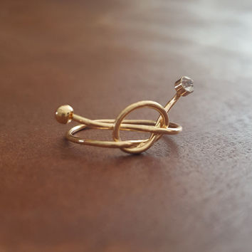 Dainty ring 18K Gold Knot small clear stud Delicate crystal ring jewelry Gift
