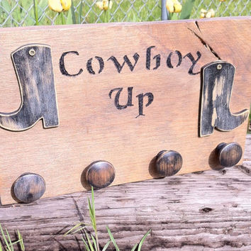 Rustic Cowboy Up distressed key rack, lodge, cabin, or country home decor