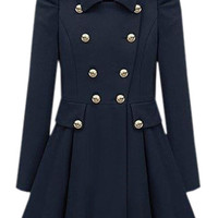 ROMWE | Cool Look Pleats Blue Trench Coat, The Latest Street Fashion