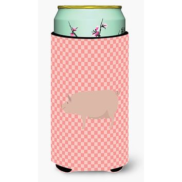 English Large White Pig Pink Check Tall Boy Beverage Insulator Hugger BB7938TBC