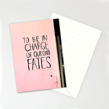 Encouragement card, Valentine's card, blank card, with Envelope, 5 X 7, Carpe Diem, pink, stationery, feminist, graffiti, greeting card