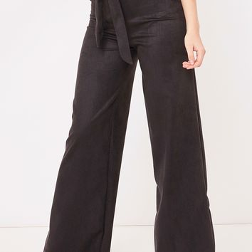 ruby black suede paper bag wide leg trousers