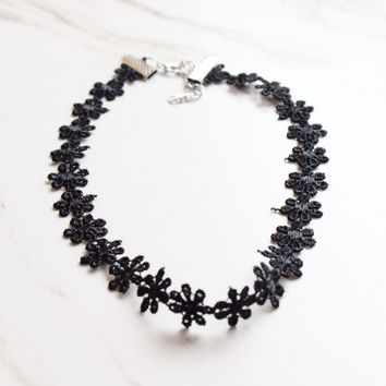 Black Daisy Choker Necklace