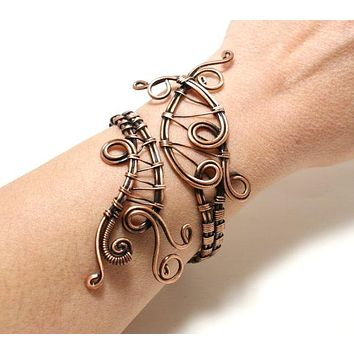 Handmade copper wire wrapped cuff bracelet