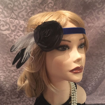 1920's Black Rose Royal Blue Velvet Ostrich Feather fishnet headband head piece art deco 20s lace headpiece gatsby 1920s elastic (699)
