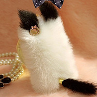 Cute Cat Fluffy Style Fake Fur Case for Iphone 4 / 4s / 5 with White Leopard