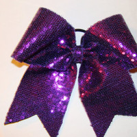 Purple Sequin Cheer Bow