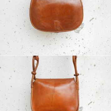 Vintage Vegetable Tanned Leather Purse / Crossbody Bag / Small