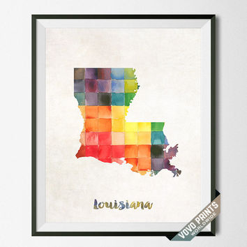 Louisiana Map, Print, Poster, Watercolor, Baton Rouge, Home Town, Dorm, Art, USA, Painting, States, America, Wall Decor, Watercolour [NO 18]