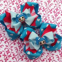 LALALOOPSY BOWS Pigtail Bows Mittens Fluff n Stuff Birthday costume Lalaloopsy Party Girls bows Toddler, Infant, Big girls Bow