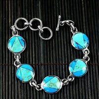 Artisana Handcrafted Mexican Alpaca Silver and Turquoise Disk Bracelet