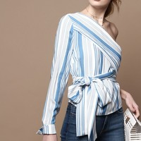 MINKPINK One Shoulder Tie Top - Stripe