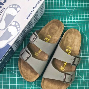 Birkenstock Arizona Soft Footbed Suede Leather Grey Sandals - Best Online Sale
