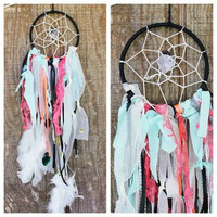 Dream Catcher -  Black & Multi-Colored with Raw Amethyst Crystal