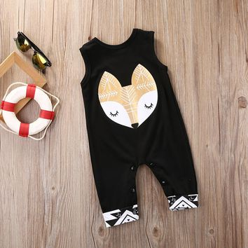 Fashion Newborn Infant Baby Print Romper Jumpsuit Clothes Outfits Cute Fox Cartoon Outfits Baby Boys Clothes