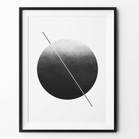 Moon geometric art, wall art prints, geometric print, black and white, wall decor, graphic, inspirational, round print