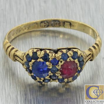 1880s Antique Victorian 18k Yellow Gold Double Heart Sapphire Ruby Band Ring