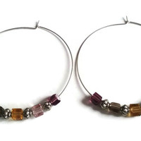 "Hoop Earrings - Sterling Silver Crystal Cube Earrings in Warm Colors - 2.5"" Hoops"