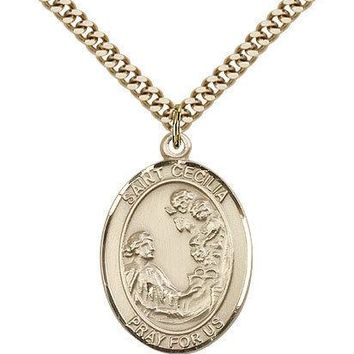 "Saint Cecilia Medal For Men - Gold Filled Necklace On 24"" Chain - 30 Day Mone... 617759470901"