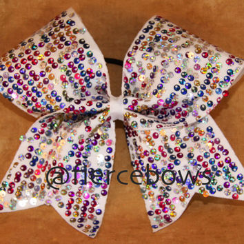 "Multicolor ""Rain"" Sequin Cheer Bow"